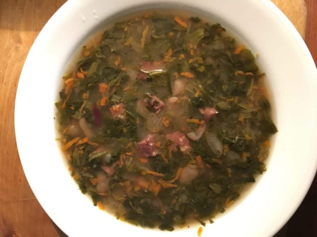 slow cooker ham and beans with spinach soup