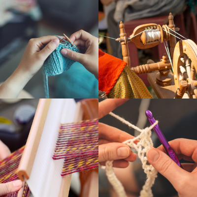 knitting, spinning, crochet, weaving pictures